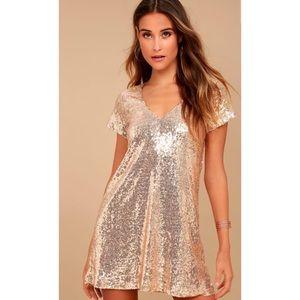 Lulu's Light Up the Night Sequin Shift Dress NWT